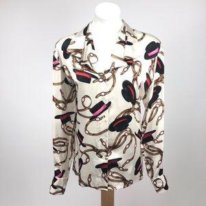 Escada Top Hat horsebit silk vintage blouse button